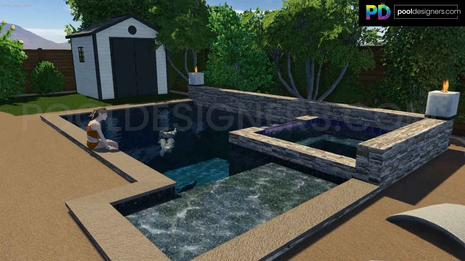 Geometric Spool With Spillover Spa Pd11 3d Pool Design Pool Designers Buy 3d Pool Designs Online From Expert 3d Pool Designers