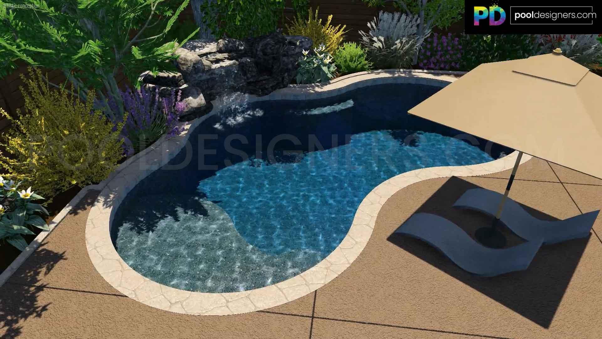 Freeform Pool Rock Waterfall Tanning Ledge Loungers Pd53 3d Pool Design Pool Designers Buy 3d Pool Designs Online From Expert 3d Pool Designers